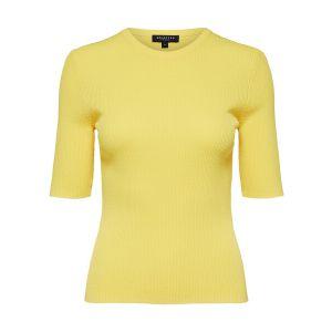 Selected femme SLFAmelia SS knit O neck 16068184 geel