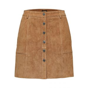 Selected femme SLFFavi MW Split leather skirt 16072633 Tigers Eye_1