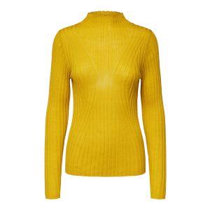 Selected femme SLFLima LS knit T neck 16070575 Lemon Curry_1