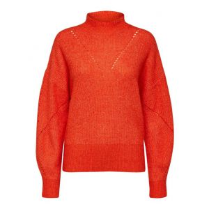 Selected femme SLFInga LS Knit Frill neck 16071574 Orange_1