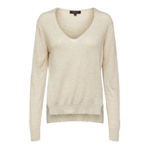 Selected femme SLFLinel LS Knit V Neck 16071777 Zand_1