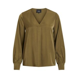 Object OBJEileen LS V neck v blouse 23032114 groen_1