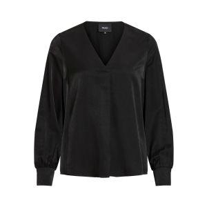 Object OBJEileen LS V neck v blouse 23032114 Zwart_1