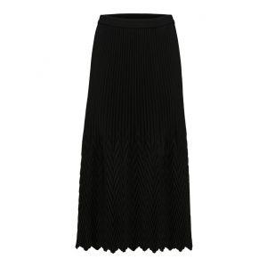 Selected femme SLFUna MW midi plisse skirt 16076192 Zwart_1