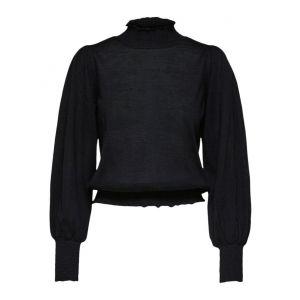 Selected femme SLFTabita LS knit smock  16076310 Zwart_1