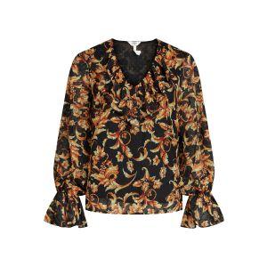 Object OBJMika LS Ruffle blouse 23035536 Zwart