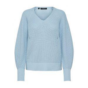 Selected femme SLFEmmy LS knitt V neck 16076990 Cashmere blue_1