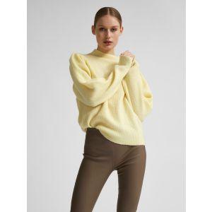 Selected femme SLFLipa LS knit T neck 16076856 geel_1