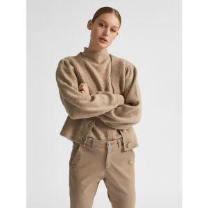 Selected femme SLFLipa LS Kmit short Cardigan 16076855 Sandshell_1