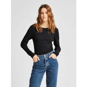 Selected femme SLFAmelia LS knit O neck 16077275 Zwart_1