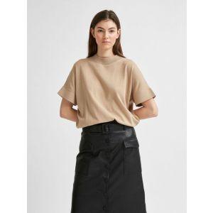 Selected femme SLFMaja SS knit O neck 16078649 Zand_1