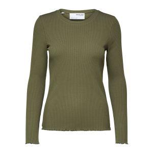 Selected femme SLFAnna LS Crew neck tee 16077380 groen
