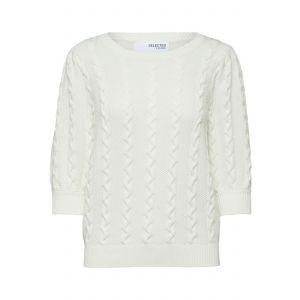 Selected femme SLFHanna 2/4 knit O neck 16079579 sneeuwwit