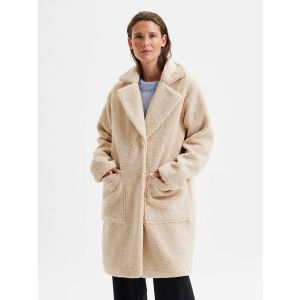Selected femme SLFNes Nanna Teddy Jacket 16079406 Sandshell_1