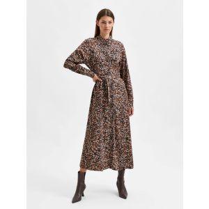 Selected femme SLFRonja-Oriana LS Ankle dress 16080651 Zwart_1