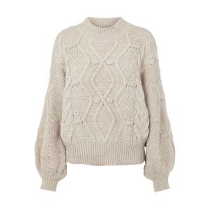 Object OBJKamma Cable knit pullover 23035767 Silver Grey_1